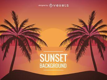 Playa puesta de sol ilustración