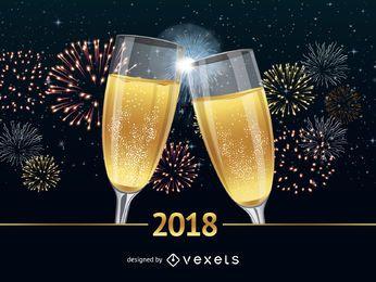 Cartaz de felicitações de ano novo de 2018