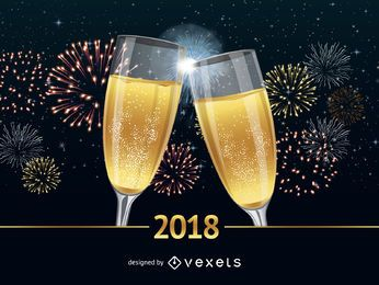Prosit Poster des neuen Jahres 2018