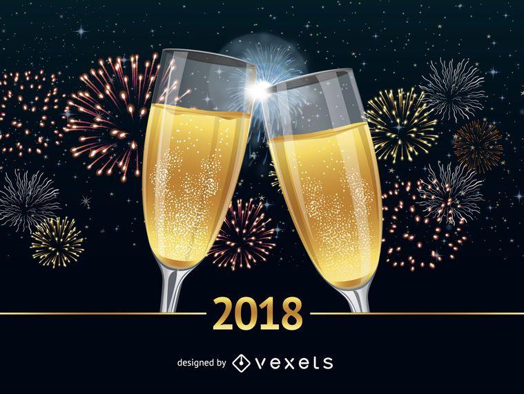 Cartel de saludos de año nuevo 2018