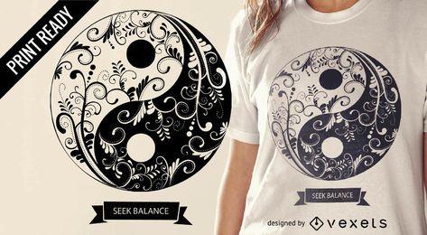 Diseño de camiseta de mandala de Yin Yang