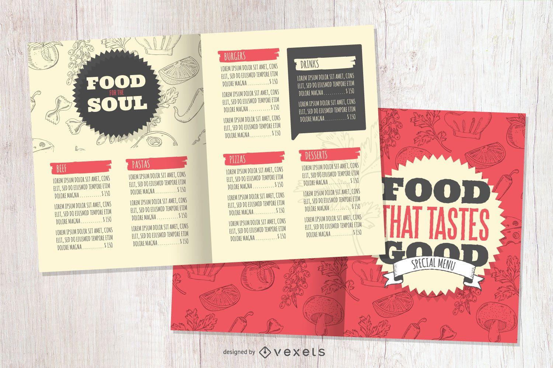 Plantilla de comida de menú de restaurante