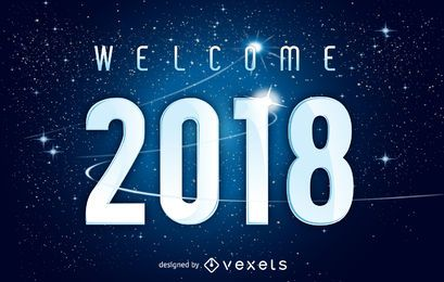 Cartel de bienvenida al universo 2018