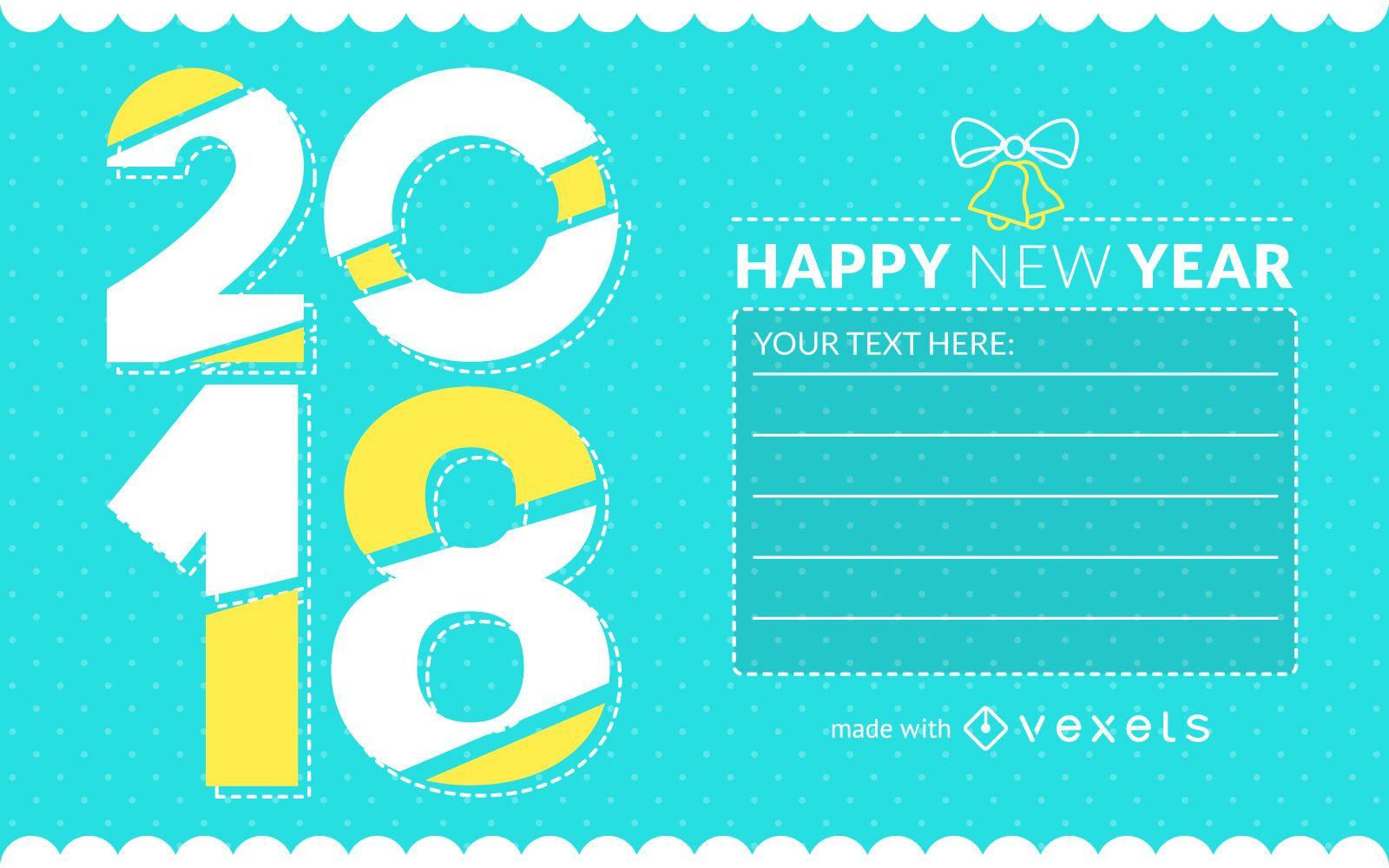 2018 New Year greeting card creator - Editable design