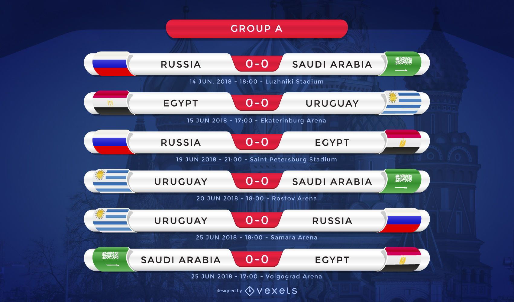 Russia 2018 Group A fixture
