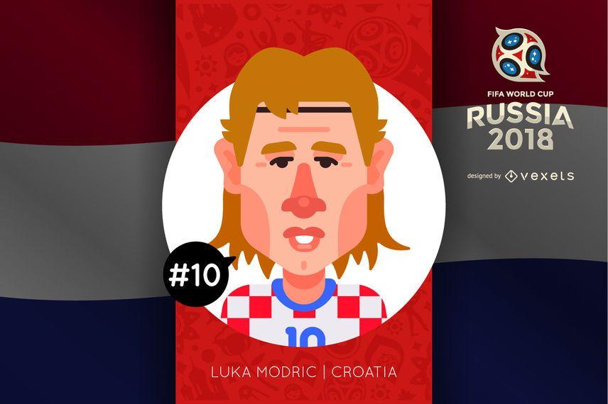 Luka Modric Russia 2018 cartoon character