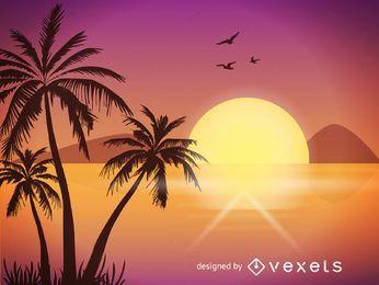 Ilustración playa puesta de sol