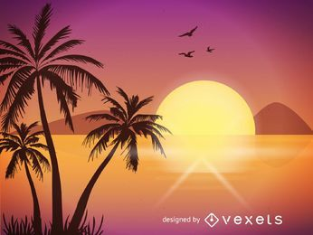 Sunset beach illustration