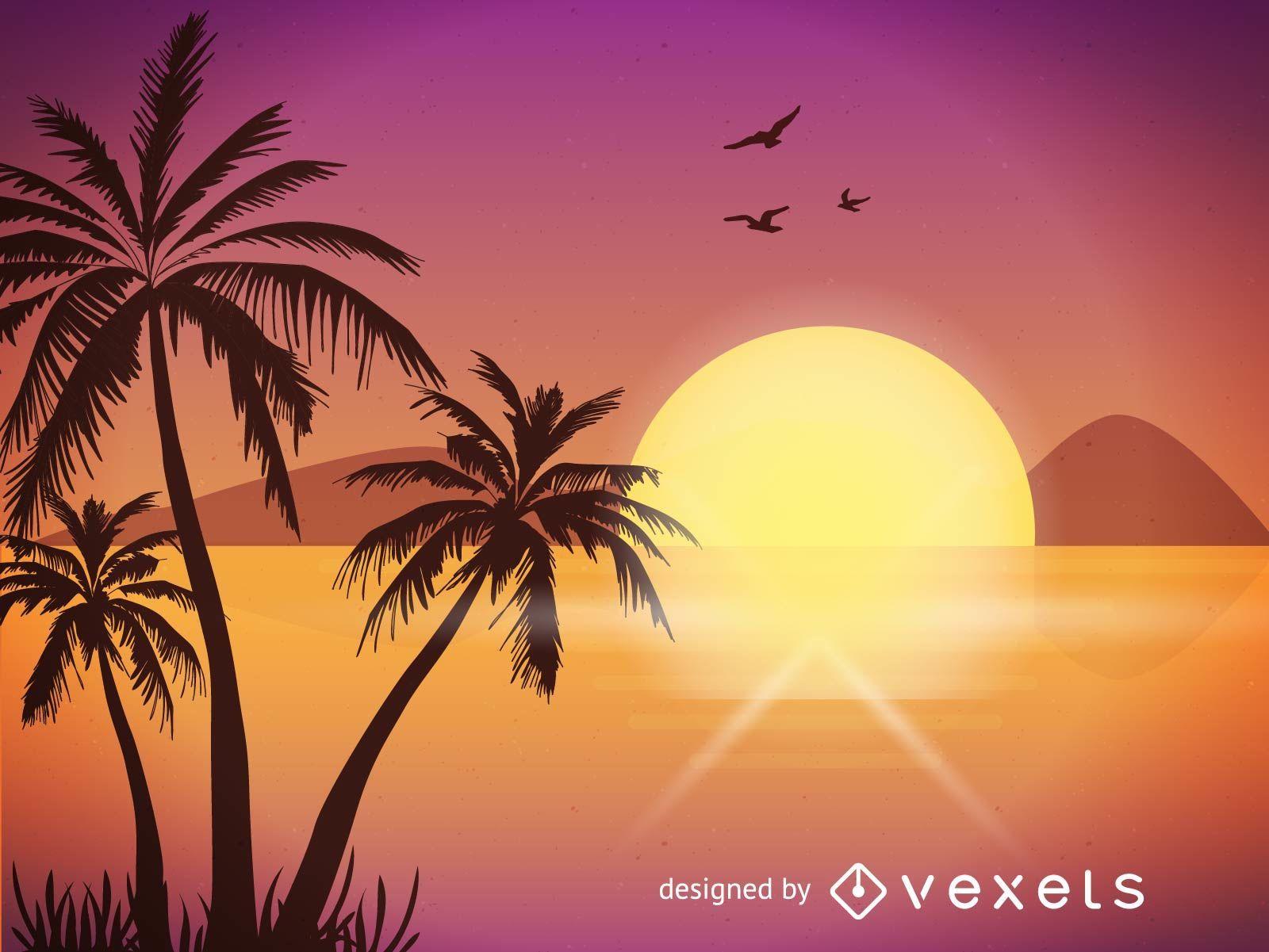 Ilustração de Sunset Beach