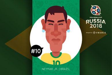 Personaje de dibujos animados Neymar Rusia 2018