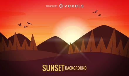 Ilustração do pôr do sol nas montanhas
