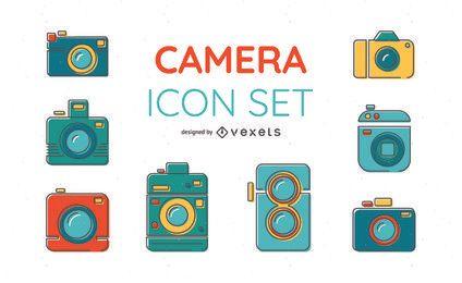 Conjunto de ícones de câmera de cores brilhantes