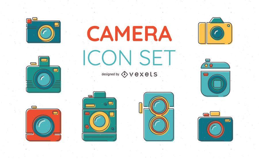 Conjunto de iconos de cámara de colores brillantes