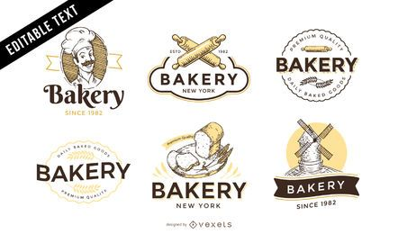 Conjunto de plantillas de logotipo de panadería