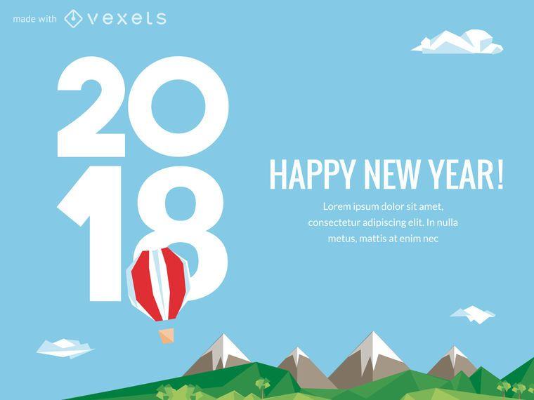 2018 pôster de Ano Novo com opções
