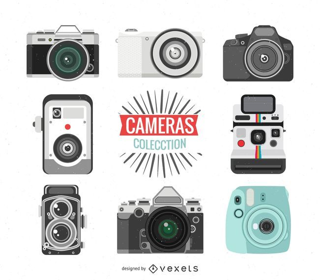 Collection of vintage camera illustrations