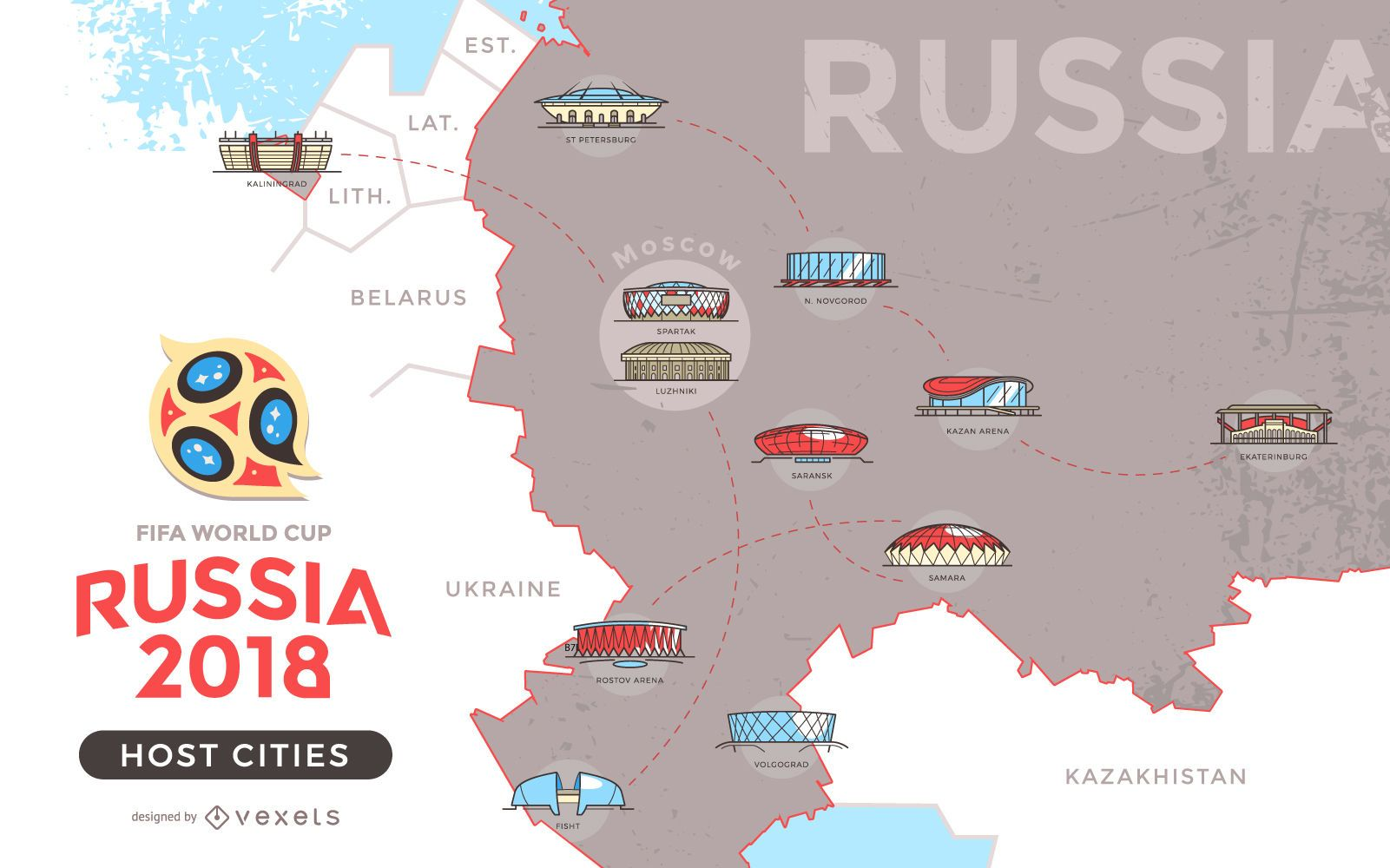 Russia 2018 host cities map - Vector download