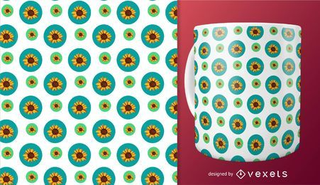 Seamless sunflower in circles pattern