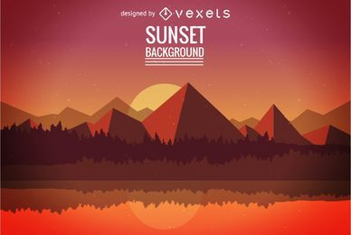 Flat sunset background illustration