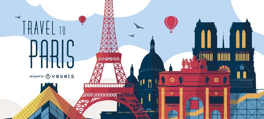 Viagem à ilustração do poster de Paris