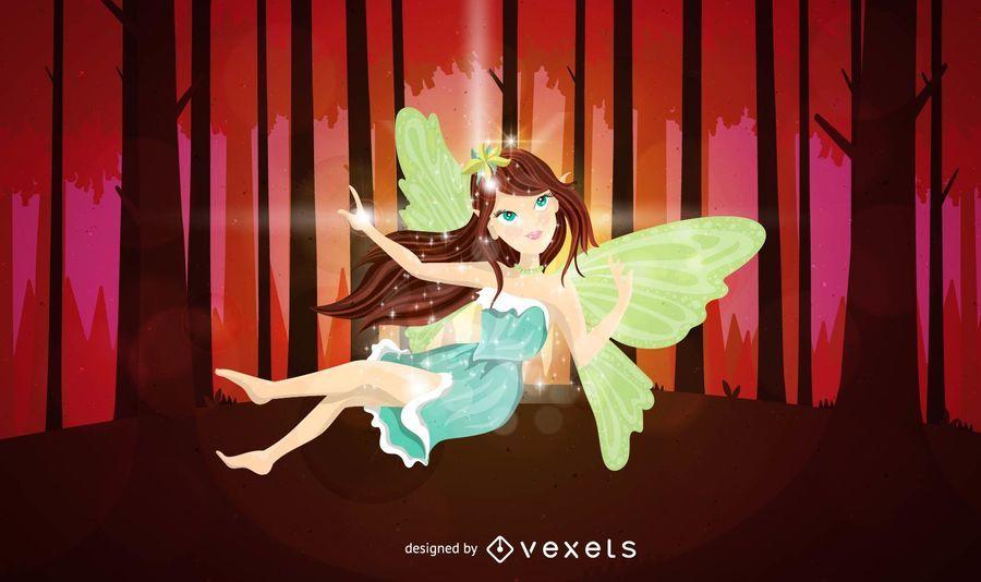 Fairy on forest illustration