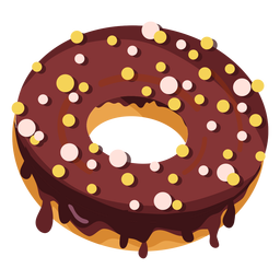 Chocolate doughnut with round sprinkles