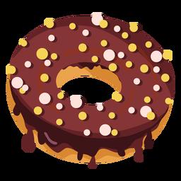 Donut de chocolate com granulado redondo