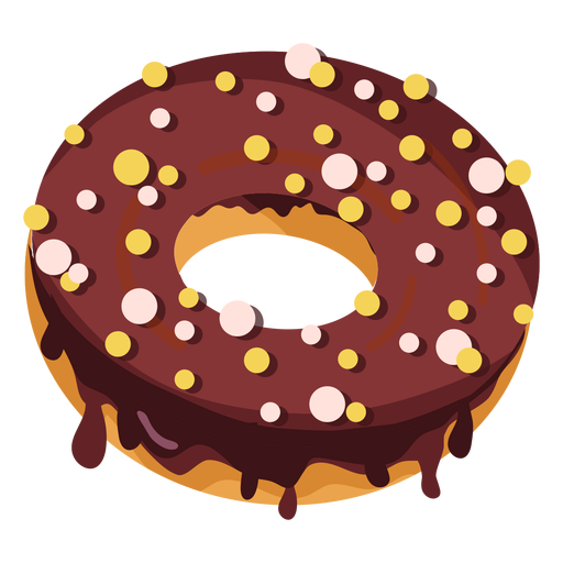 Chocolate doughnut with round sprinkles Transparent PNG