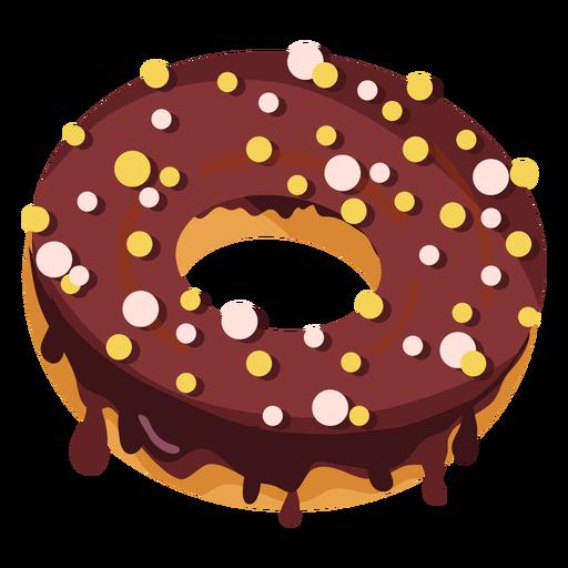 Chocolate doughnut with round sprinkles