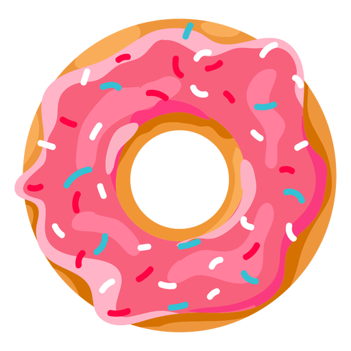 Strawberry doughnut with sprinkles Transparent PNG