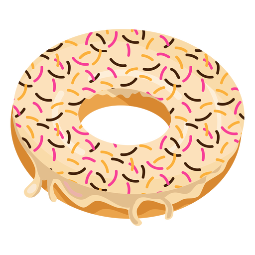 Vanilla doughnut with sprinkles Transparent PNG