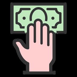 Mano con billete de un dólar