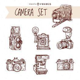 Câmeras de desenho vintage desenhadas a mão