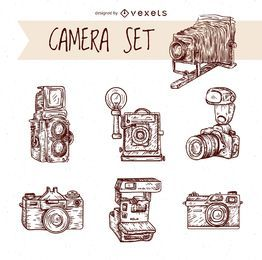 Vintage hand drawn cameras set