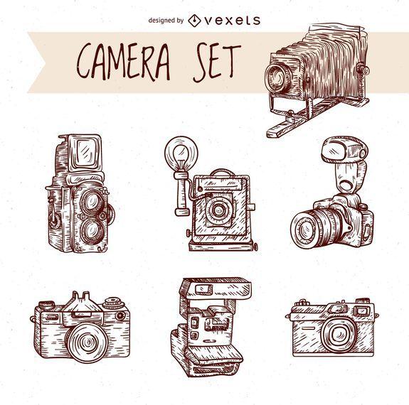 Conjunto de cámaras dibujadas a mano vintage
