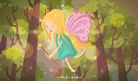 Ilustración de hada en un bosque