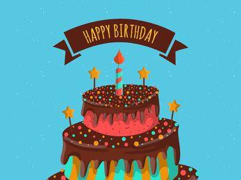 Feliz aniversário, cartão, com, bolo