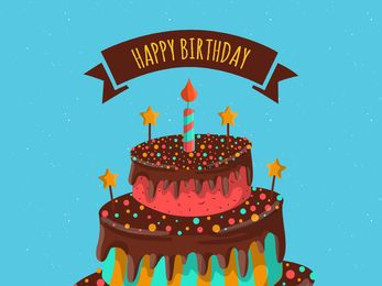 Tarjeta de feliz cumpleaños con pastel