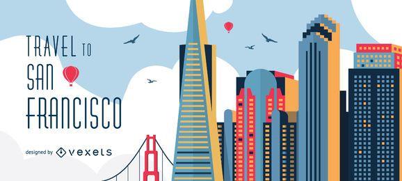Reisen Sie zur Skyline von San Francisco