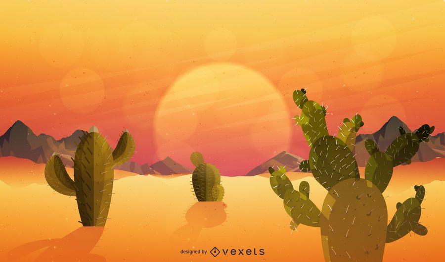 Ilustração plana do pôr do sol do deserto