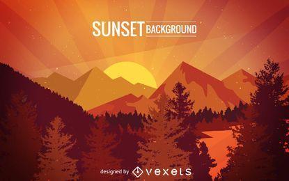 Pôr do sol, sobre, montanhas, ilustração