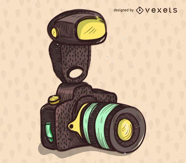 Dibujado a mano ilustración de cámara