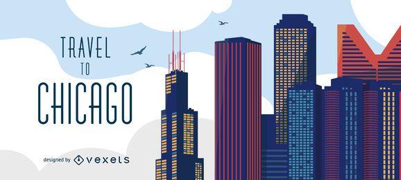 Fahren Sie zur Skyline von Chicago