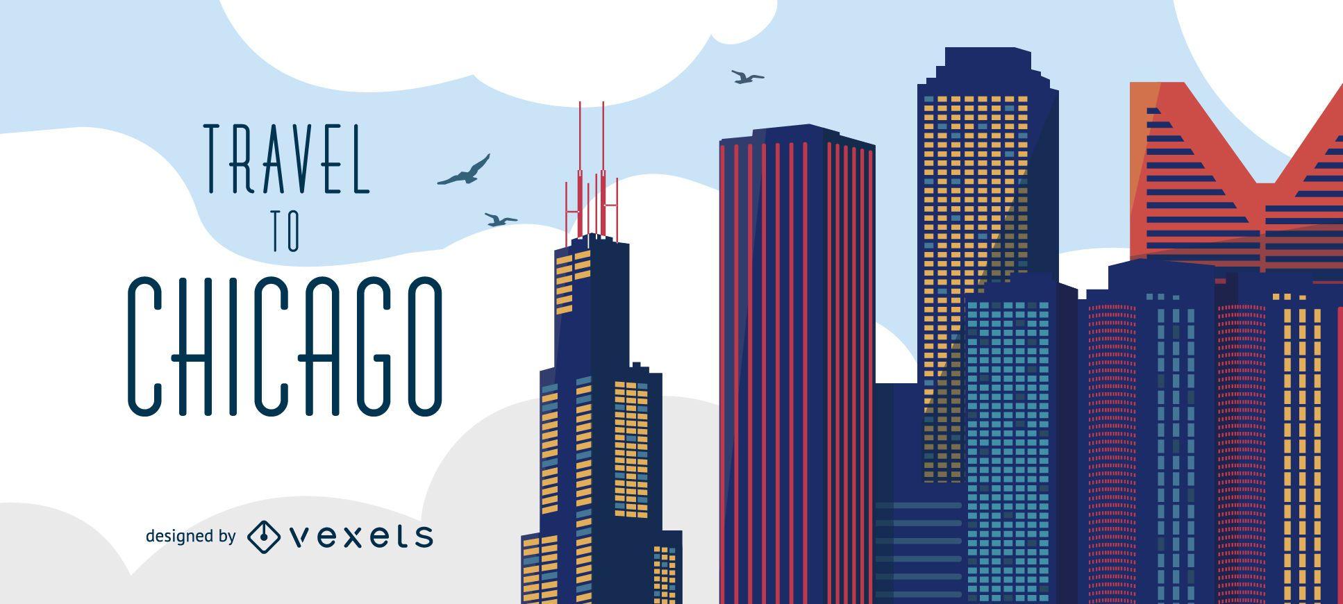 Travel to Chicago skyline