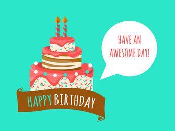 Cartão aniversário, com, bolo, ilustração