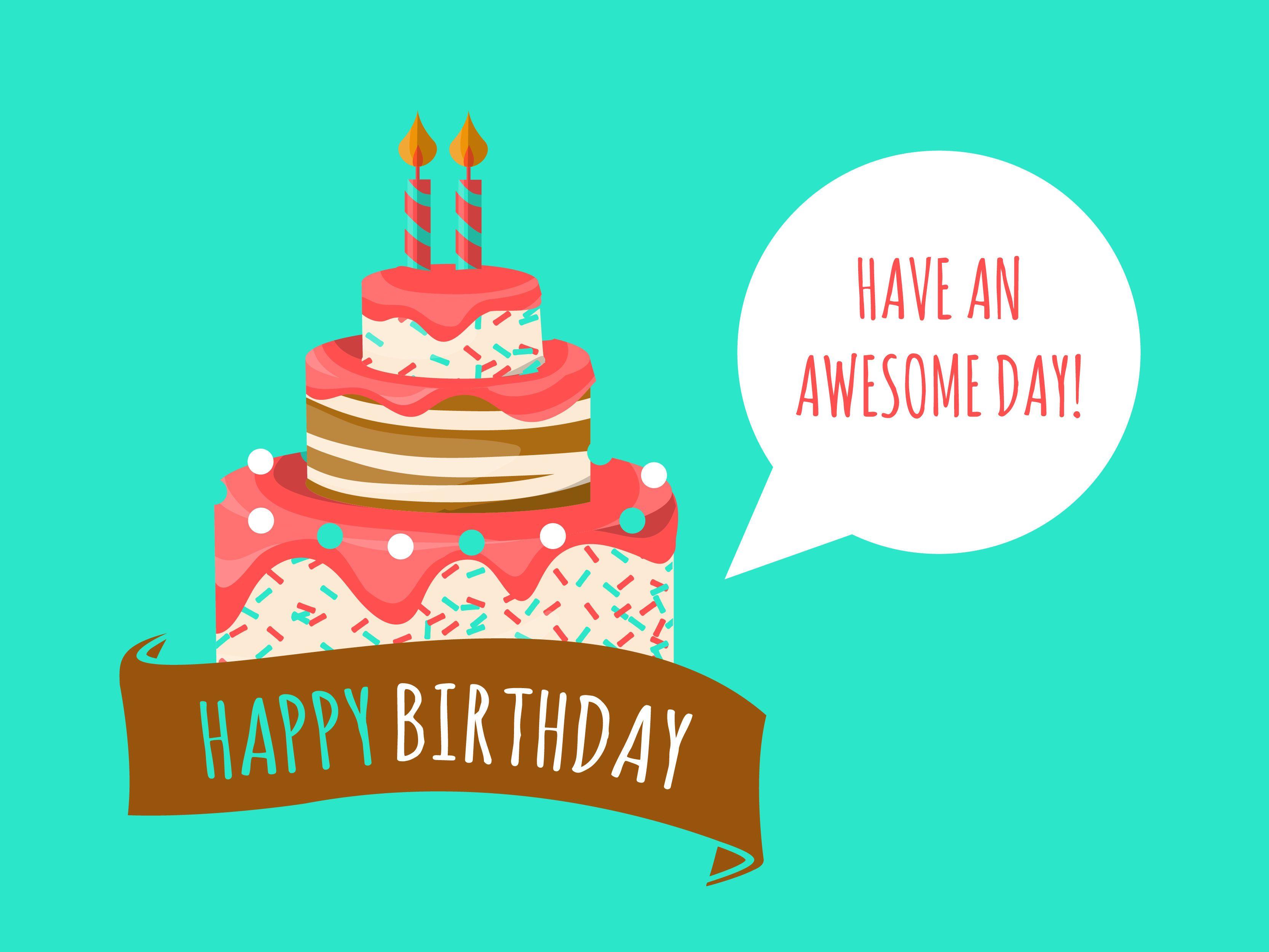Birthday card with cake illustration