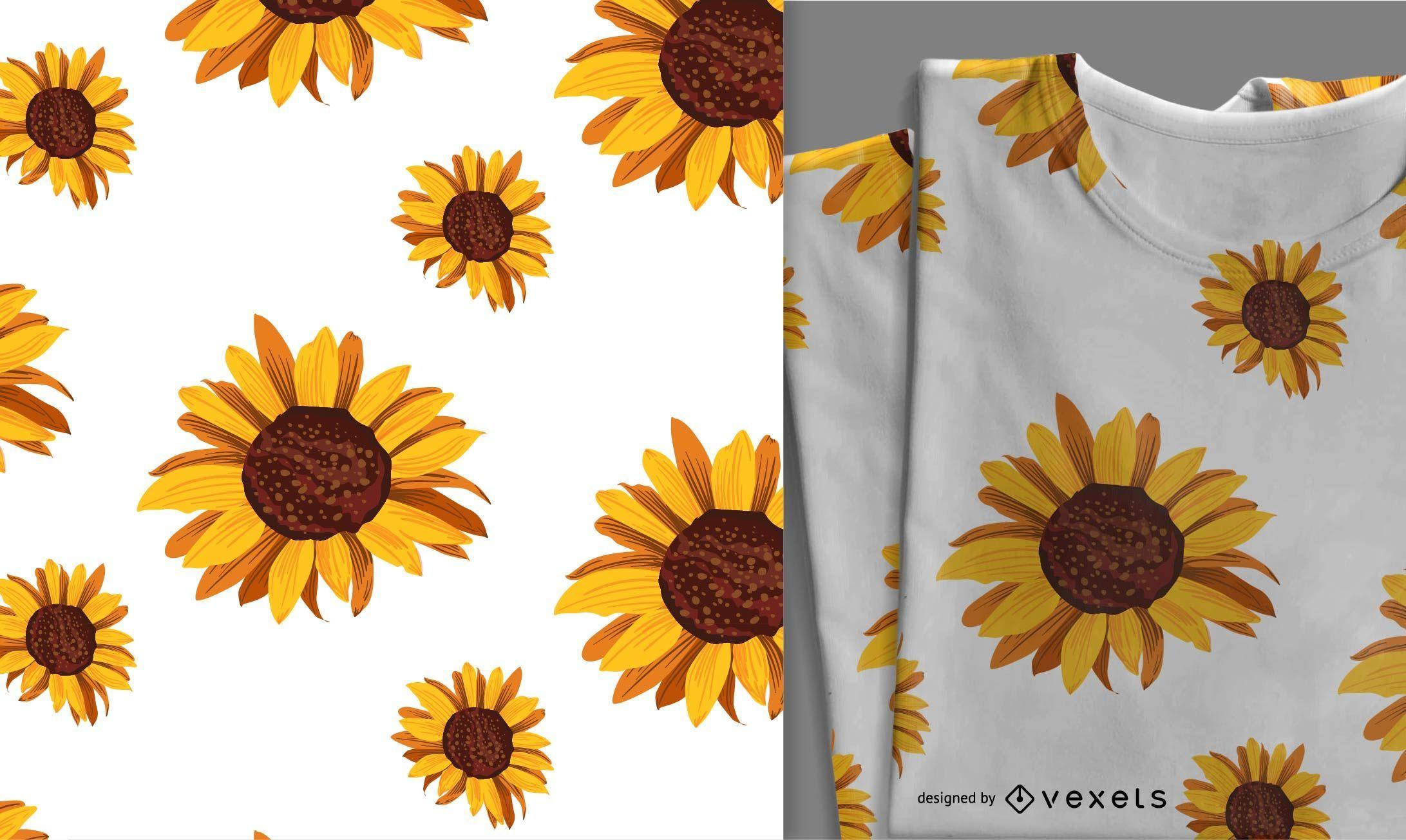 Cute Seamless Sunflower Pattern - Vector Download