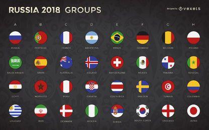 Rusia 2018 Grupos de la Copa del Mundo y banderas