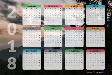 Design do calendário mensal 2018