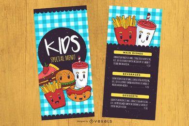 Menü-Designvorlage für Kinder